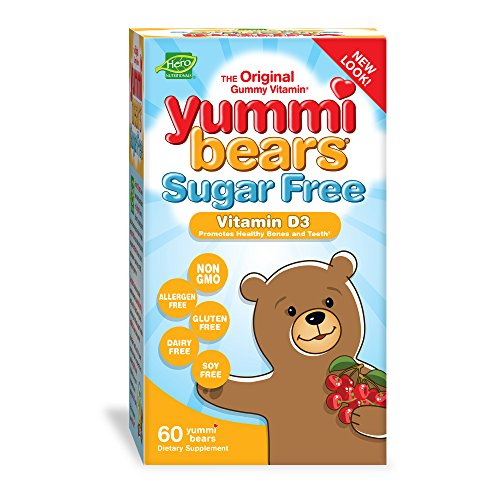 Yummi Bears Sugar Free Vitamin D3 Gummy Vitamin Supplement for Kids, 60 Gummies (Best Vit D For Kids)