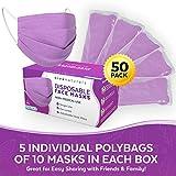 Purple Face Mask (50 Pack) - Premium 4-Ply Purple