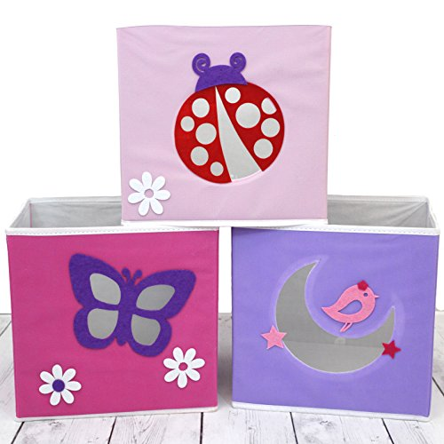Paylak SCR639 Kids Storage Organizer Bins Pastel Fabric Set of 3 Animal Print Cubes with Handle