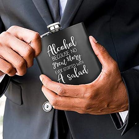 Geschenkfreude Petaca negra de 180 ml, hip flask, negra, 180 ml, divertida petaca I botella de alcohol I personalizado con grabado el regalo para hombres y mujeres, día del padre