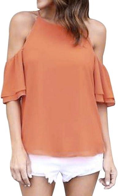 Camisas Mujer Verano Elegantes Moda Blusas Sin Barco Único ...