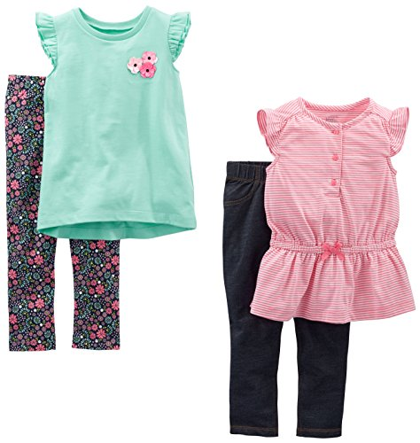 Simple Joys by Carter's Toddler Girls' 4-Piece Playwear Set, Pink Stripe/Mint Floral, ()