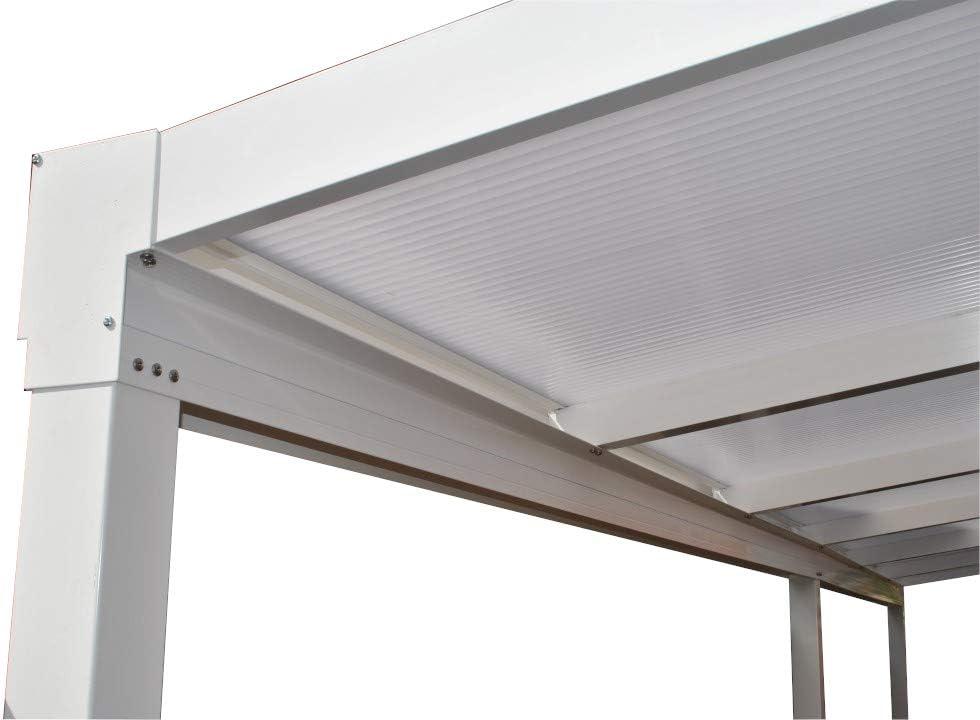 KC Kit Toldo/Policarbonato DIY Carport/Veranda o Patio Cubierta Tamaño: 3,0 m de Ancho x 2,5 m proyección, Blanco