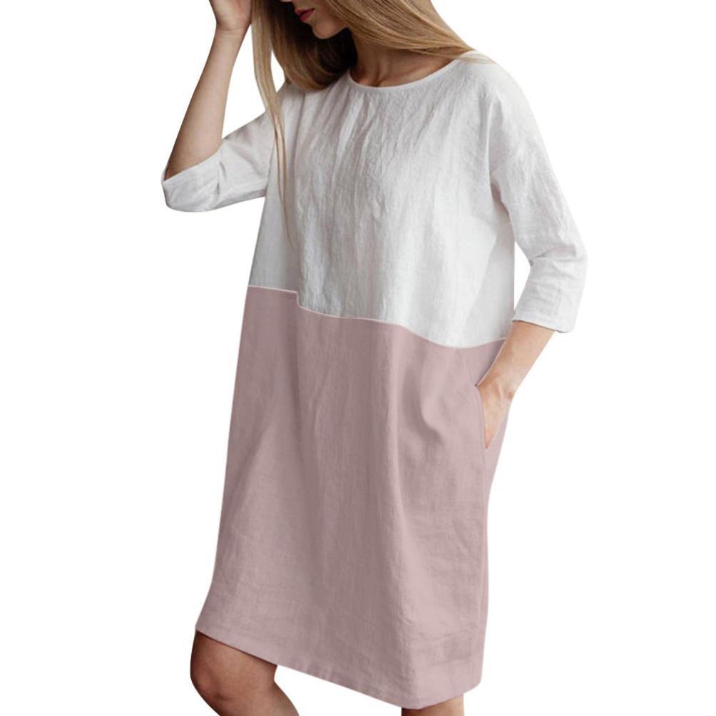 Clearance! ZTY66 Dress, Women Casual Patchwork 3/4 Sleeve Cotton Linen Loose Pockets Tunic Dress (Pink, M)