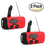 2 Pack Zoostliss 1000mAh Emergency Hand Crank Self Powered AM/FM NOAA Solar Weather Radio with LED Flashlight for iPhone Smart Phone (2 Pack Red)