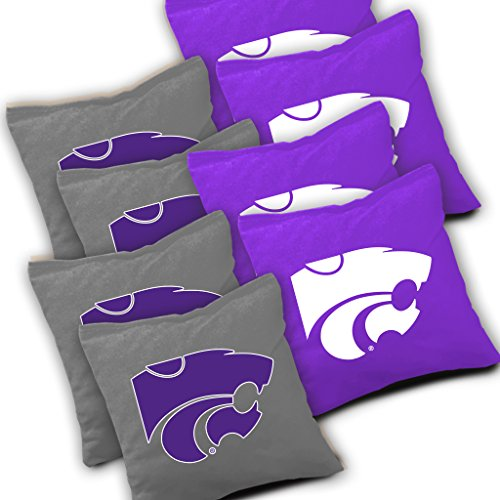 KANSAS STATE WILDCATS Cornhole Bags SET of 8 Officially Licensed ACA REGULATION Baggo Bean Bags ~ Made in the USA