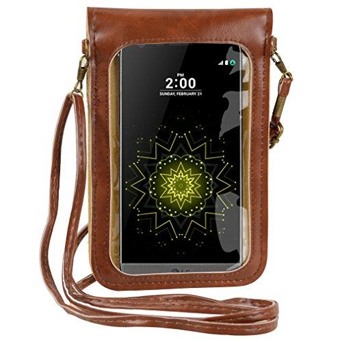 Premium Flower Design Crossbody Touch Screen Leather Case Pouch Bag for LG G6 / LG V20 / LG Stylo 2 / LG Stylus 3 / LG X Power/HTC Bolt/BlackBerry DKET60 / Google Pixel XL (Brown)