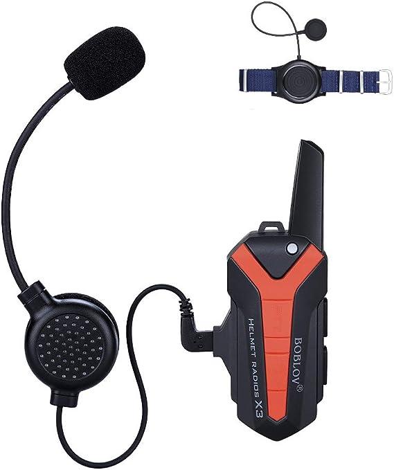 Boblov Interfono Casco Moto X3 Plus Wireless Blue-Tooth Interfono per Moto Aggiornato Interfono Auricolare Communicator Moto Interfono Casco Auricolare