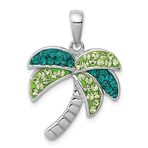Mireval Sterling Silver Anti-Tarnish Treated Dark Green Crystal Palm Tree Pendant ()