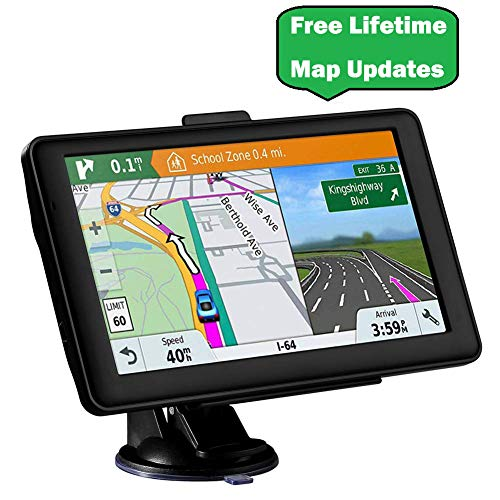 7.1 inches Car GPS, Navigation System for Cars 2019 Lifetime Map Update,Touch Screen Real Voice Direction,Vehicle GPS Navigator