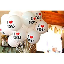 ANFIMU 20pcs I Love You Balloon Party Wedding Valentine's Day Decoration White - 12 Inch Latex Balloons for Romantic Proposal