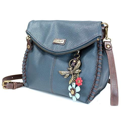 Chala Charming Crossbody Bag - Flap Top and Metal Key Charm in Navy Blue, Cross-Body or Shoulder Purse - Dragonfly