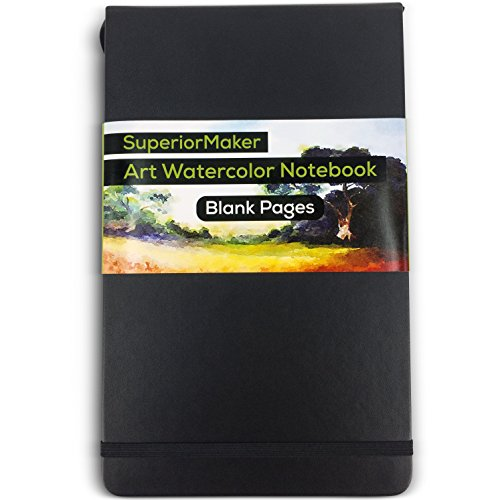 "SuperiorMaker Watercolor Sketchbook - For Wet and Dry Media - 5"" x 8.25"" - 100 Pages - Thick 220gsm Off White Paper, No Bleed Through - Elastic Closure - Page Marker - Pocket - BONUS Label Stickers"