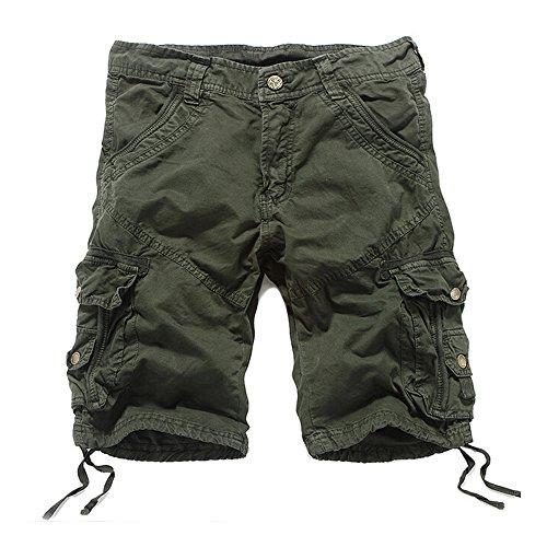 HEMOON Men's Twill Cargo Pocket Shorts Military-Style Army Green 29W