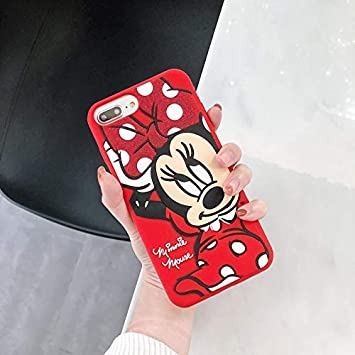Soft Silicone Red Minnie Mouse Case for iPhone 7Plus 8Plus 7 8 Plus Large Size Walt Disney Disneyland Cartoon Polka Dots Bow Protective Cute Lovely ...