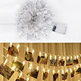 LSHCX LED Photo Clip String Lights for Indoor or Outdoor, 40 Photo Clips, 4.2 Meter/13.8 Feet, Warm White, Battery Powered Perfect for Hanging Photos, Memos, Artwork (Warm White)