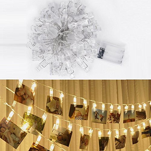 LSHCX LED Photo Clip String Lights for Indoor or Outdoor, 40 Photo Clips, 4.2 Meter/13.8 Feet, Warm White, Battery Powered Perfect for Hanging Photos, Memos, Artwork (Warm White) by LSHCX