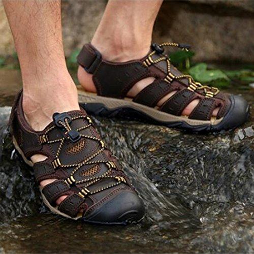 ZHONGST Sandali Estiva Outdoor Foro Sandali Uomo Shoes Casual Da Beach In Con Darkbrown Pelle 6xv6Rpnwrq
