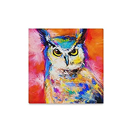 Interestprint Modern Art Pastel Painting Of An Owl Wall Art Canvas Print Wooden Frame Abstract Paintings Wall And Home Decor 16 X 16 Inches