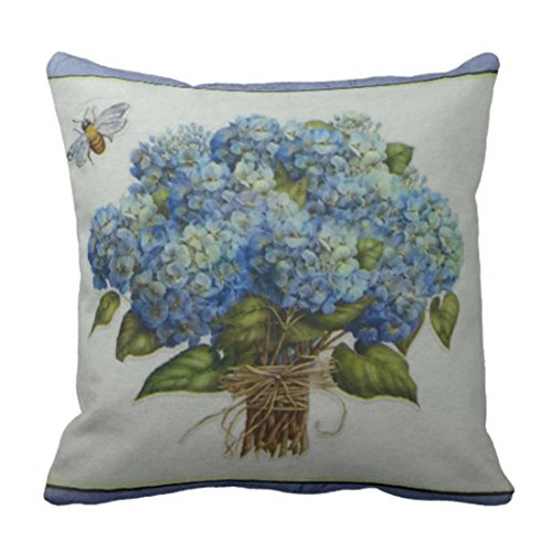 Emvency Throw Pillow Cover Beautiful Blue Hydrangeas With A Bee Decorative Pillow Case Home Decor Square 18x18 Inch Cushion Pillowcase (Pillows Throw Hydrangea)
