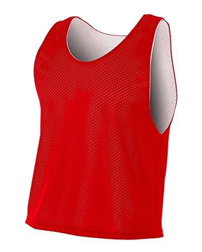 Youth Lacrosse Jersey Shirt - A4 Sportswear Red/White Youth XL Lacrosse Reversible Practice Jersey Pinnies