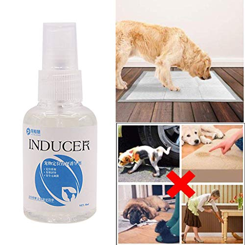 Pet New Perfume Inducer Pet Spray Toilet Training Dog Positioning Defecation,Training Spray Potty Aid Here Dogs and Puppies Puppy Liquid Made Dog (White)