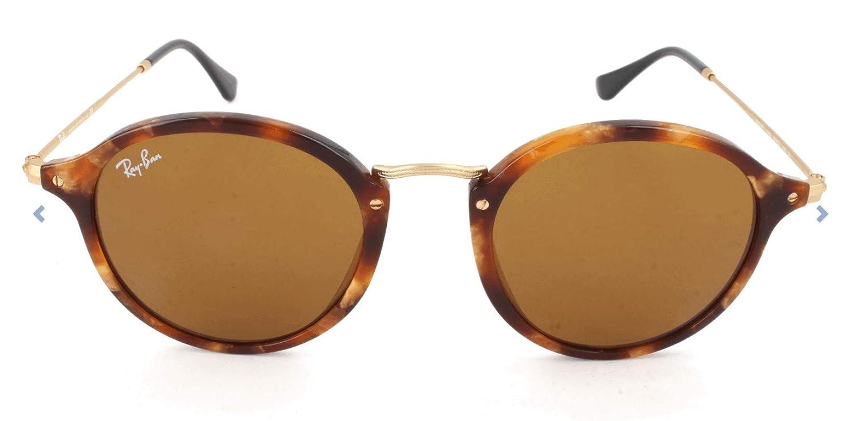 Ray-Ban Puente de metal redondas gafas de sol en la Habana marrón moteada RB2447 1160 49