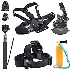 EEEKit Starter Kit for Campark Ultrathin 4k Wifi Waterproof / Review XP 4K Action Camera, Head Strap/Floaty Grip Pole/Chest Harness/Car Suction Cup/Selfie Stick Mount