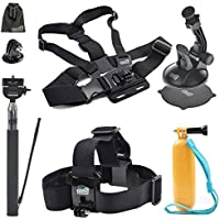 EEEKit 5in1 Accessories Kit for AKASO EK7000/VTech Kidizoom/APEMAN Action Cam,Head Strap Mount,Floaty Handle Grip Pole,Chest Harness, Selfie Stick,Suction Cup Mount