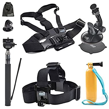 EEEKit Outdoor Sports Accessory Kit for DBPOWER Action Camera X1HD/12MP/EX5000 Wifi 14MP FHD/EX3000/EX4000,Head Strap,Floaty Grip,Selfie Stick,Chest Harness/Car Mount
