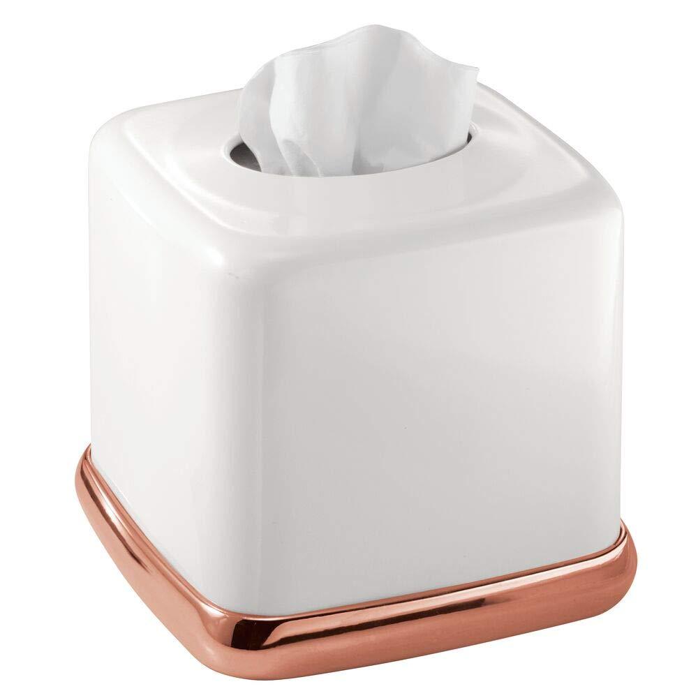 mDesign bo/îte /à mouchoirs en m/étal joli rev/êtement pour boite mouchoir standard distributeur de mouchoir pratique pour salle de bain ou bureau argent/é mat
