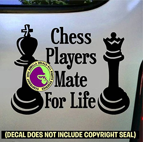 (CHESS PLAYERS MATE FOR LIFE Queen Board Game Piece Decal Vinyl Bumper Sticker Laptop Check King Window Car Sign BLACK)