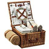 Picnic at Ascot Cheshire English-Style Willow Picnic Basket with Service for 2 and Blanket – London Plaid