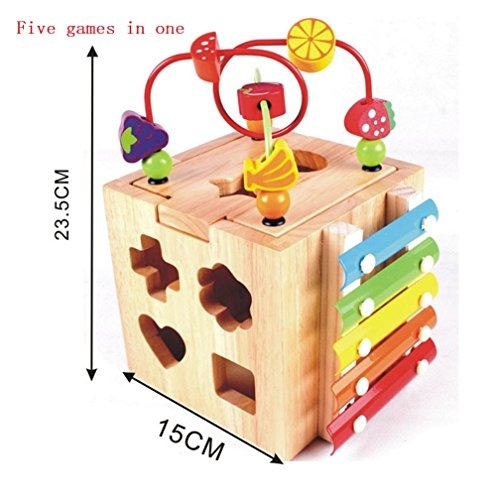 Fqstech Wooden 5 Functioned Box Cube  Slider Stringing Shape Matching Analogue Clock Xylophone Roller Coaster  For Kids