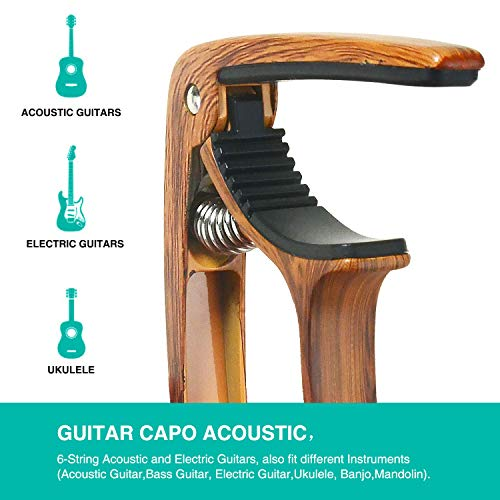 SIIWOO Guitar Capo for Acoustic Guitar, Ukulele Electric Capo(Woodgrain color)