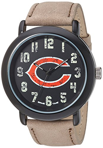 - Game Time Men's 'Throwback' Quartz Metal and Leather Casual Watch, Color:Beige (Model: NFL-TBK-CHI)