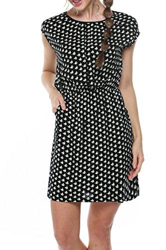 meaneor-womens-half-placket-cap-sleeve-shirt-dress-above-knee-print-casual-dress-black-m