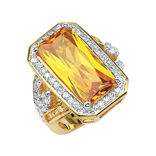 Palm Beach Jewelry Emerald-Cut Canary Yellow Cubic Zirconia 14k Yellow Gold-Plated Cocktail Ring Size (Canary Cocktail Ring)