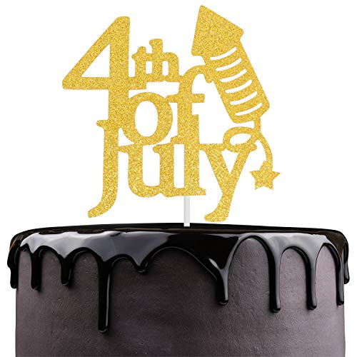 Happy USA 4th Of July Cake Topper- Gold Glitter Firecracher America Independence Day Fourth of July Anniversary Décor - Patriotic Memorial Day Veterans Day Party Decoration