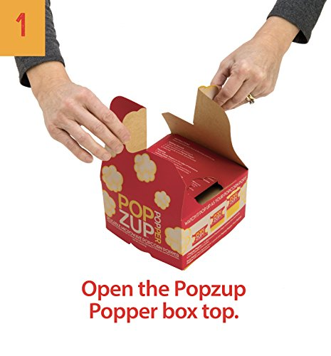 Popzup Popper-New Way to Microwave Popcorn-NO Chemicals, Silicone, Plastic-12 Count, Non-GMO, Gluten Free, Eco-Friendly, US Made & Grown-Equals 12 Lg Micro Popcorn Bags-the Box is the Reusable Popper