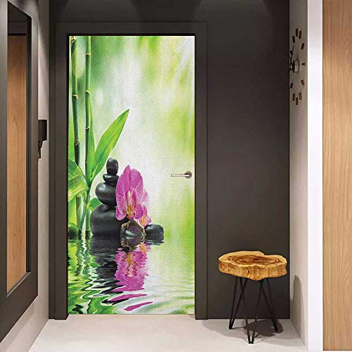 Onefzc Glass Door Sticker Decals Spa Orchids and Rocks in The Mineral Rich Spring Water Spiritual Deep Treatment Cure Door Mural Free Sticker W36 x H79 Green Black Pink ()