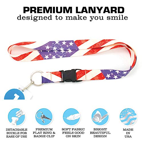 Buttonsmith Old Glory Flag Premium Lanyard with Buckle and Flat Ring - Made in USA by Buttonsmith (Image #3)
