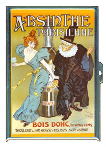 Absinthe Parisienne Vintage Ad Stainless Steel ID or Cigarettes Case (King Size or 100mm)
