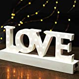 """BRIGHT ZEAL Wooden Marquee Sign """"LOVE"""" - Battery Operated (Included) AC Power Supply - Illuminated Marquee Sign Holiday Marquee Decor for Home - Wedding Decorations 1161CA"""