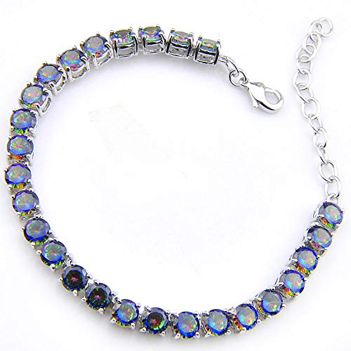 - Luckyshine Silver and Round Fire Multi-Color Mystic Topaz Gems Chain Bracelet Bangles Gifts for Women Jewelry