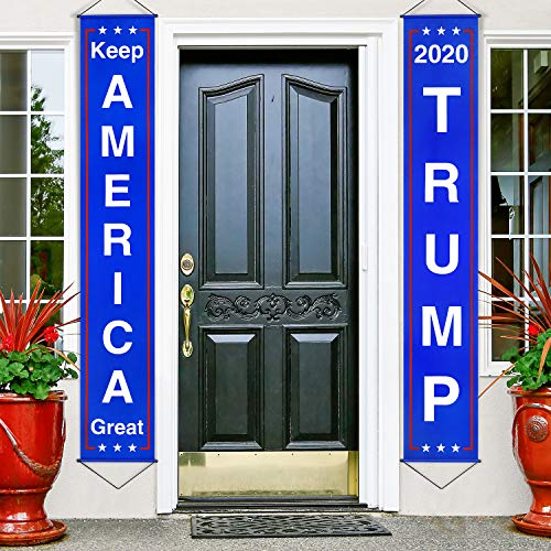Donald Trump Flag Banner Keep America Great Flag Porch Sign for President 2020 Hanging Garland America Party Decoration (Style 2)