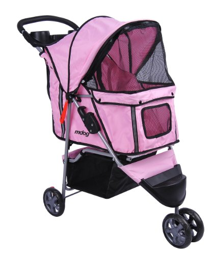 3 Wheel Pink Pet Stroller - 9