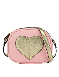 CMK TRENDY KIDS Color Block Heart Shape Purses for Kids Girls Cross Body Bag
