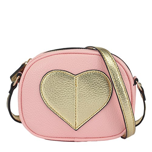 CMK Trendy Kids Mini Heart Shape Kids Purse and Handbags for Little Girls Cross Body Bag for Toddlers (Gold heart-pink), Small ()