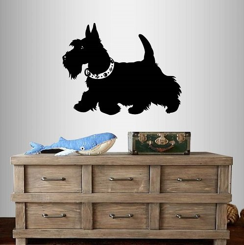 - Wall Vinyl Decal Home Decor Art Sticker Cute Scottish Terrier Dog Puppy Bedroom Nursery Pet Shop Room Removable Stylish Mural Unique Design